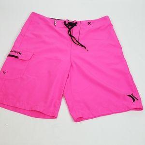 Hurley Men's Hot Pink Board Shorts w/pocket 34